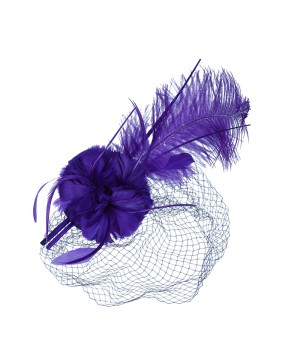 1920s Style Long Feather Fascinator in Purple