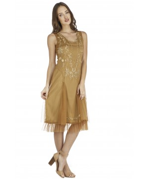 Age of Love Tara AL-254 Vintage Style Party Dress in Bronze by Nataya