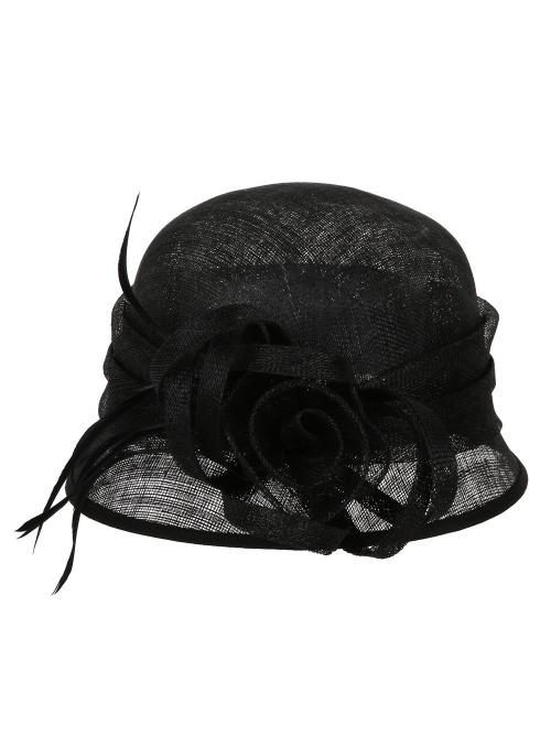 1920s Flapper Sinamay Bucket Hat in Black