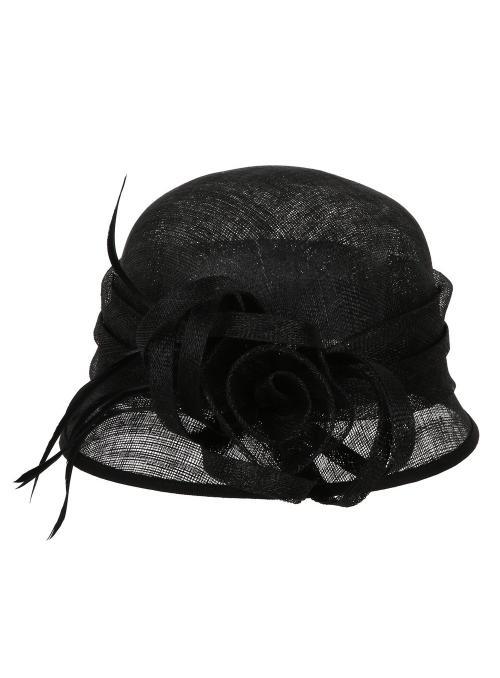 1920s Flapper Sinamay Bucket Hat in Black
