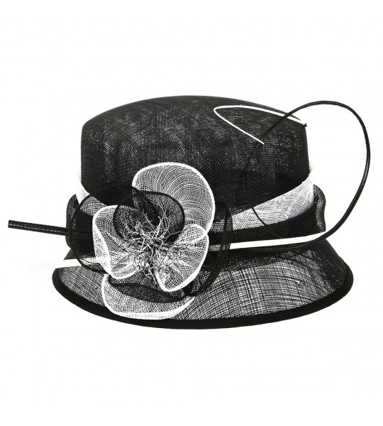 Cloche Flower Sinamay Hat in Black White
