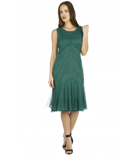 Tatianna Vintage Style Party Dress in Green by Nataya