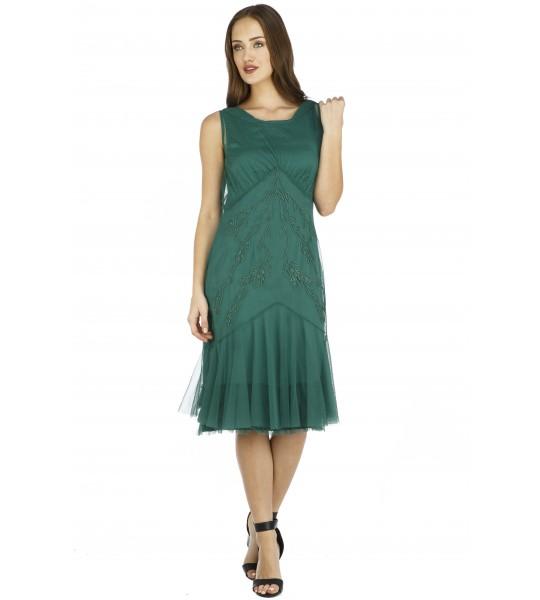 Tatianna Vintage Style Party Dress in Green by Nataya