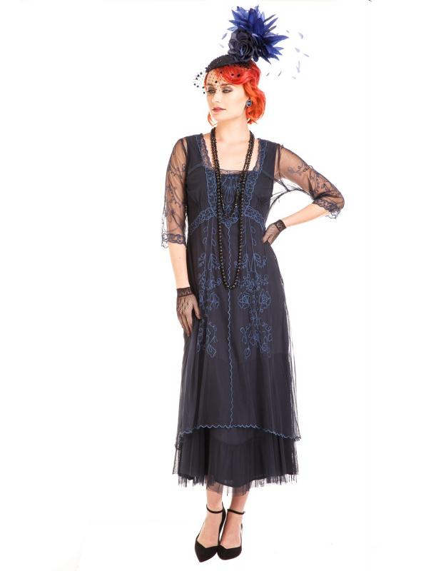 Mary Vintage Style Party Dress in Sapphire by Nataya