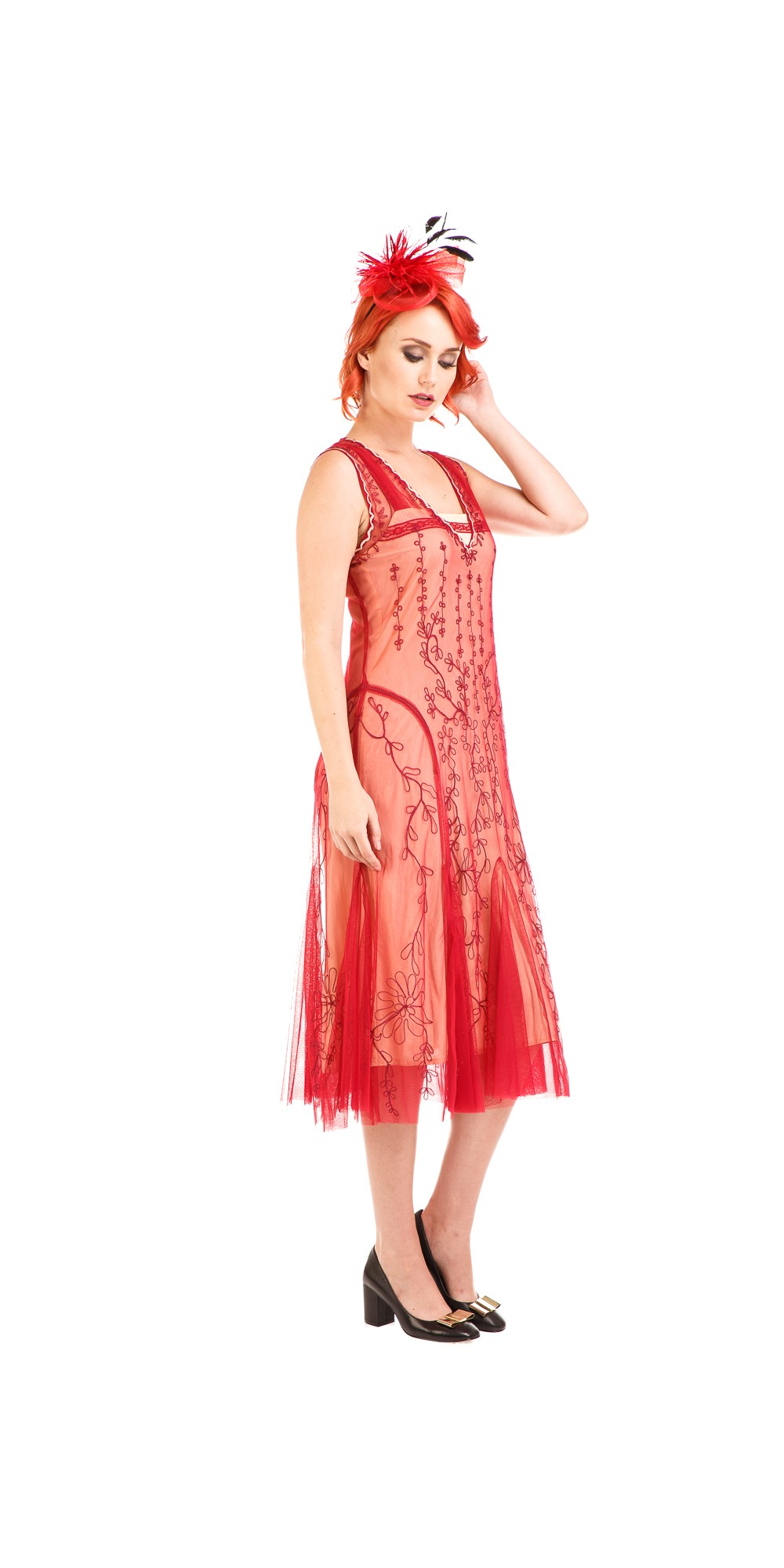 ece05cb30d Age of Love Jackie 1920s Flapper Style Dress in Cherry by Nataya