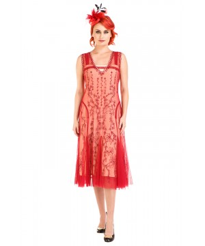 Jackie 1920s Flapper Style Dress in Cherry by Nataya