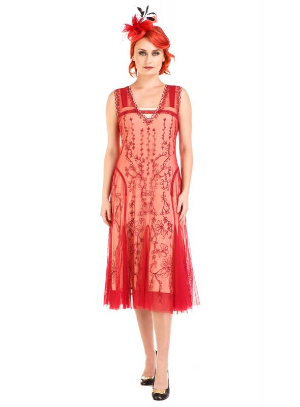 Age of Love Jackie 1920s Flapper Style Dress in Cherry by Nataya