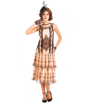 Eva 1920s Flapper Style Dress in Peach/Black by Nataya
