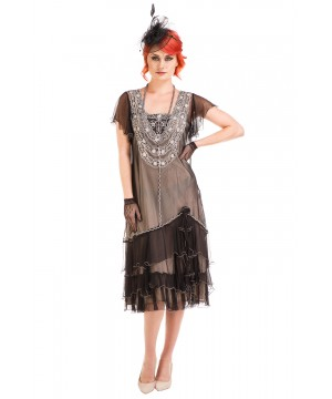 Alexa 1920s Flapper Style Dress in Black/Silver by Nataya