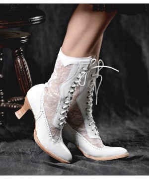 Jennie Victorian Inspired Leather & Lace Boots in White by Oak Tree Farms