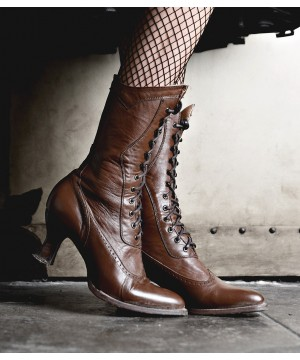 Modern Victorian Lace Up Leather Boots in Cognac by Oak Tree Farms