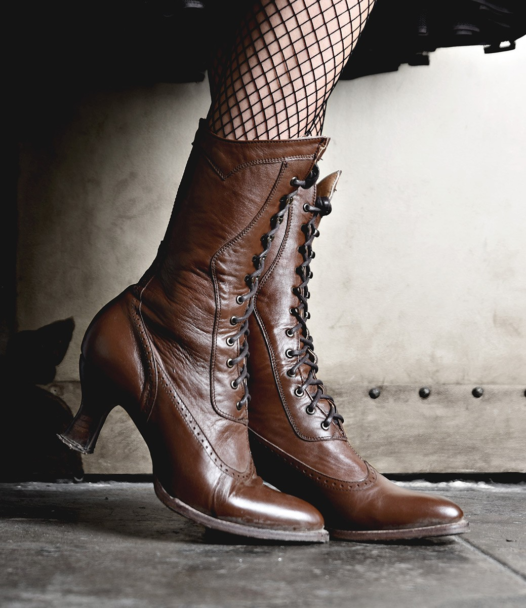 Vintage Boots- Buy Winter Retro Boots Modern Victorian Lace Up Leather Boots in Cognac $255.00 AT vintagedancer.com