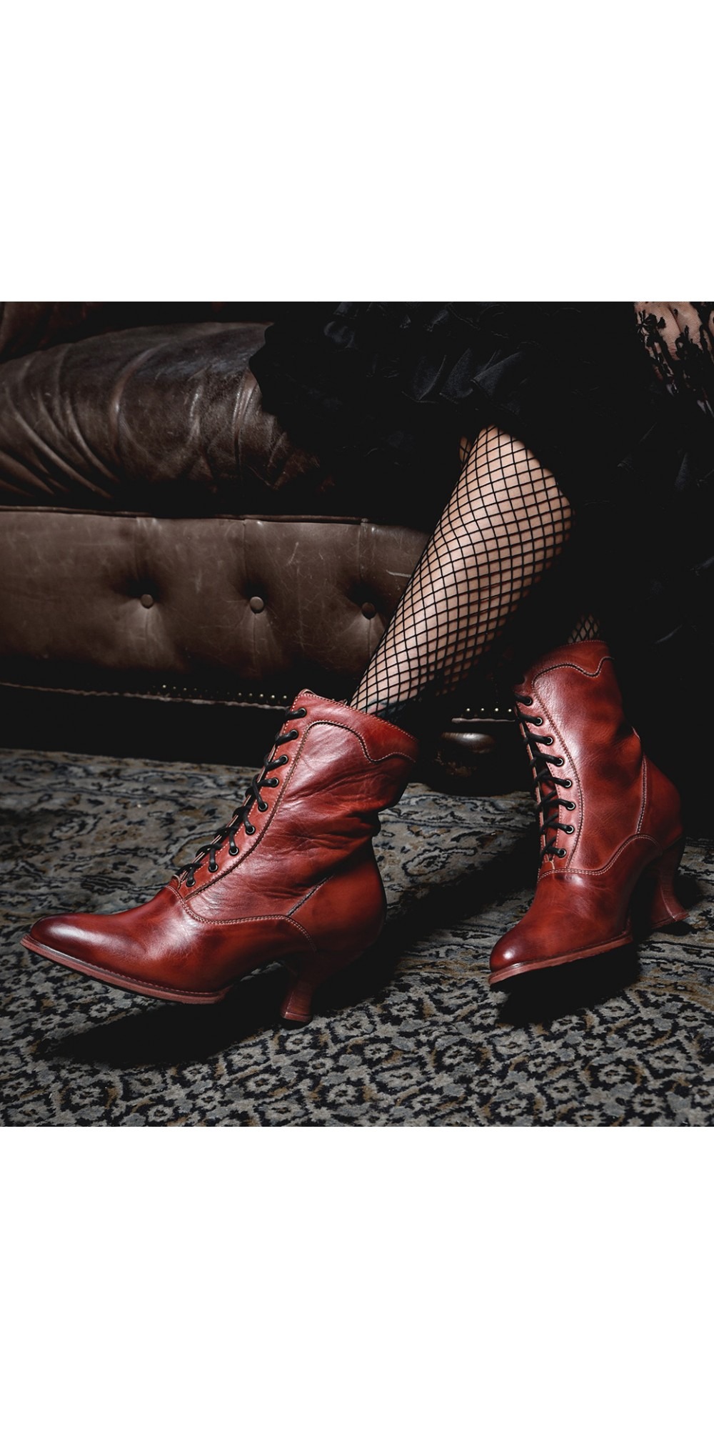 Eleanor Victorian Style Leather Ankle Boots In Red Rustic