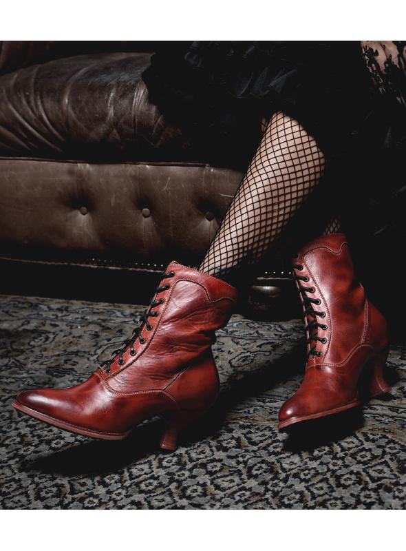 Victorian Style Leather Ankle Boots in