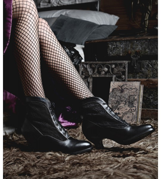 Jacquelyn Vintage Style Victorian Lace Up Leather Boots in Black Rustic by Oak Tree Farms