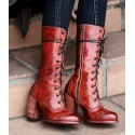 Victorian Inspired Mid-Calf Leather Boots in Red Rustic