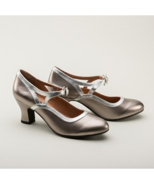 Roxy 1920s Flapper Shoes in Silver