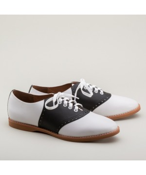 Susie Classic Saddle Shoes in Black/White by Royal Vintage Shoes