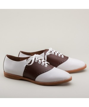 Susie Classic Saddle Shoes in Brown/White