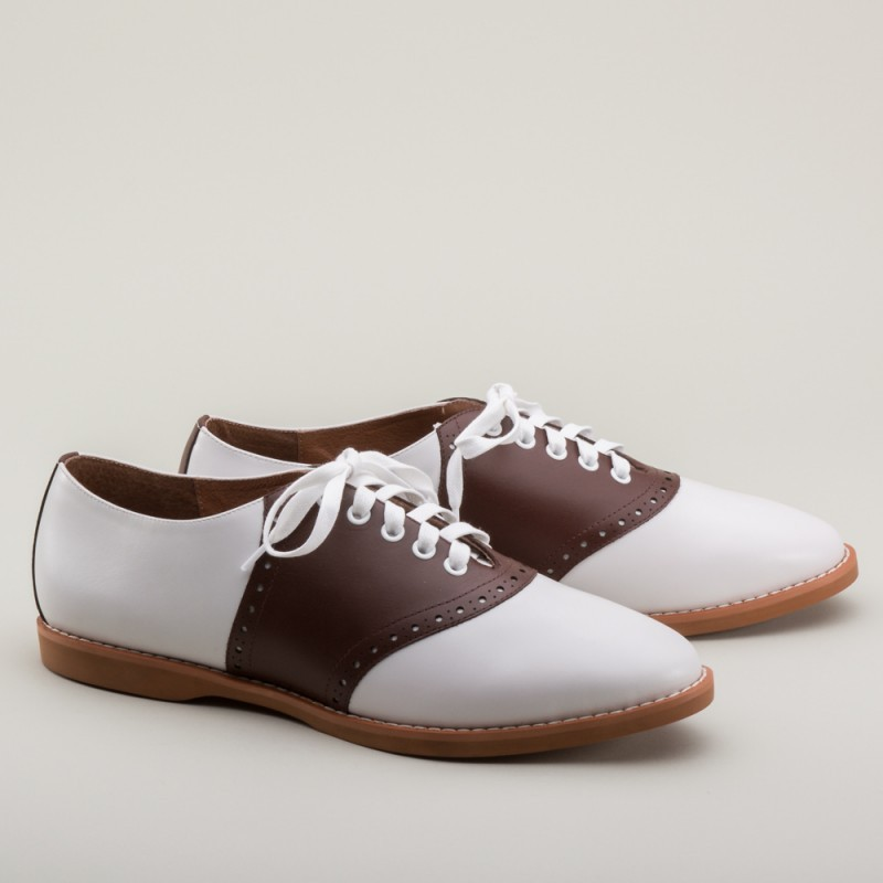 bb0d8f68b8d13 Susie Classic Saddle Shoes in Brown/White by Royal Vintage Shoes