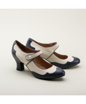 Lillian Retro Shoes in Navy/Ivory