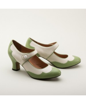 Lillian Retro Shoes in Sage/Ivory