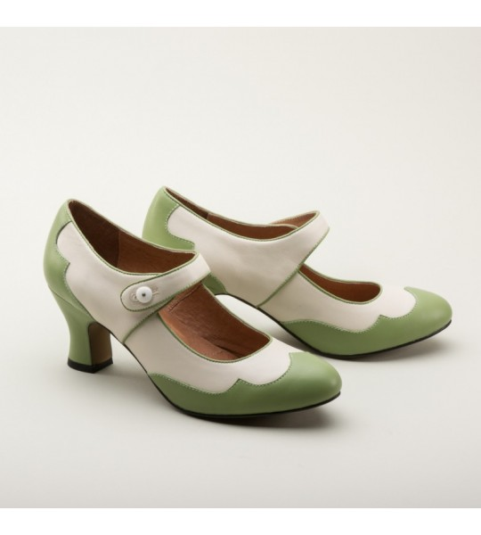 Lillian Retro Shoes in Sage/Ivory by Royal Vintage Shoes