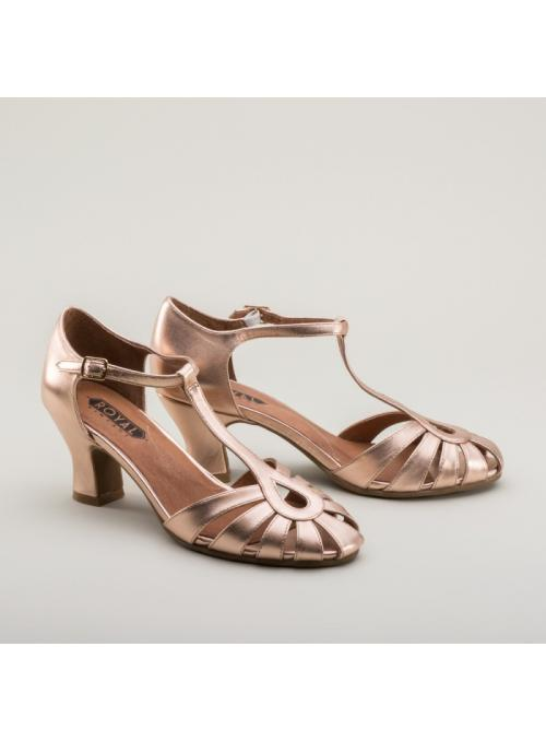 Eve Art Deco Sandals in Rose Gold by Royal Vintage Shoes