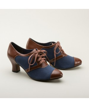 Evelyn Retro Oxfords in Navy/Brown