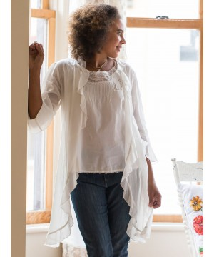 Anna Romantic Long Cover-Up in White by April Cornell