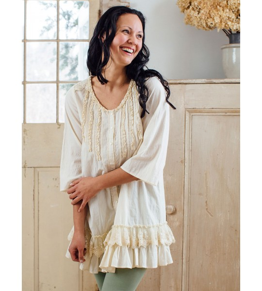 Victorian Inspired Tunic in Ecru by April Cornell