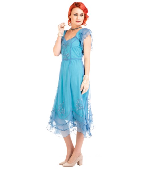 Vintage 1920s Dresses – Where to Buy Olivia 1920s Flapper Style Dress in Turquoise by Nataya $254.00 AT vintagedancer.com