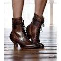 Victorian Inspired Leather Ankle Boots in Teak Rustic