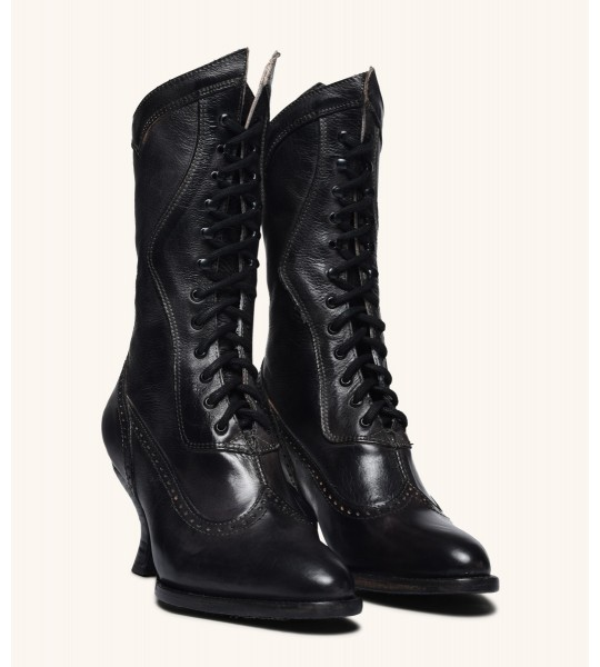 Modern Victorian Lace Up Leather Boots in Black