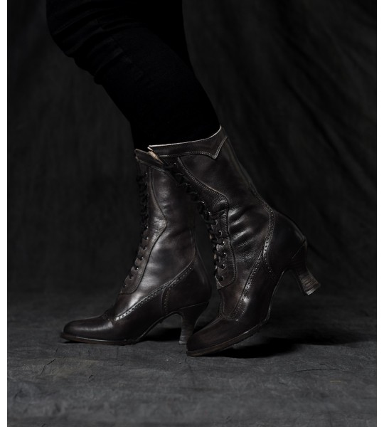 Jasmine Modern Victorian Lace Up Leather Boots in Black by Oak Tree Farms