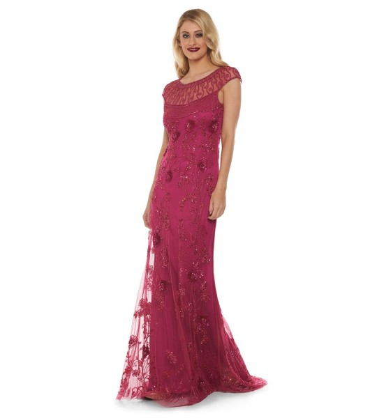 Art Nouveau Maxi Dress in Raspberry