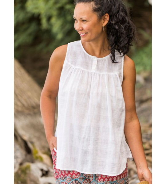 Vintage Style Sleeveless Camisole in White by April Cornell