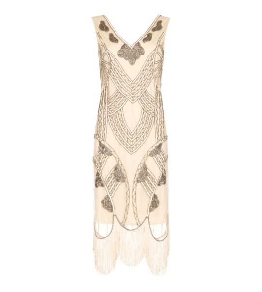 Roaring 20s Fringe Dress in Nude Blush