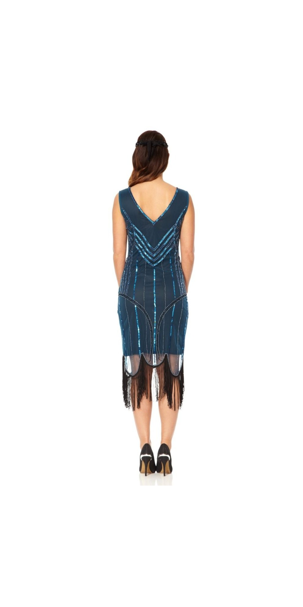 Roaring 20s Fringe Dress In Teal Black