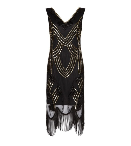 Roaring 20s Fringe Dress in Black Gold