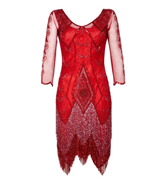 1920s Deco Fringe Party Dress in Red