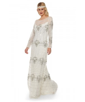1920s Inspired Evening Maxi Dress in White