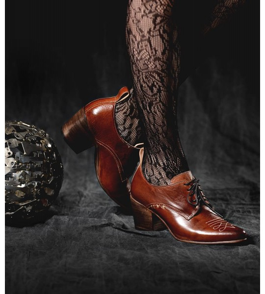 Braunstone Retro Style Leather-Wrapped Heels in Cognac by Oak Tree Farms