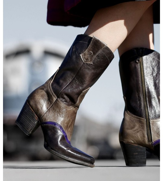 Basanty Mid-Calf Cowgirl Boots in Black Taupe by Oak Tree Farms