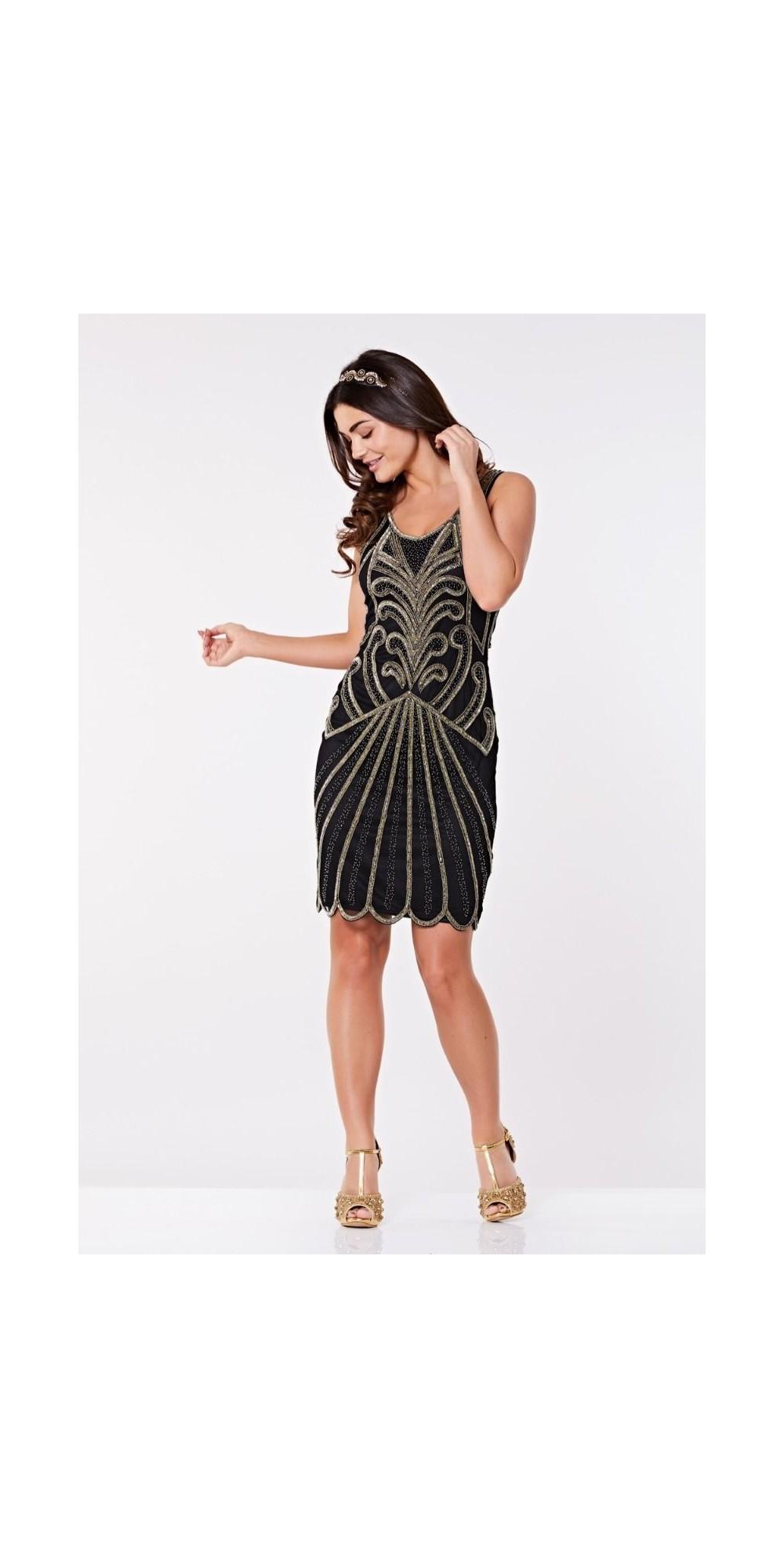 Art Deco Cocktail Dress in Black Gold