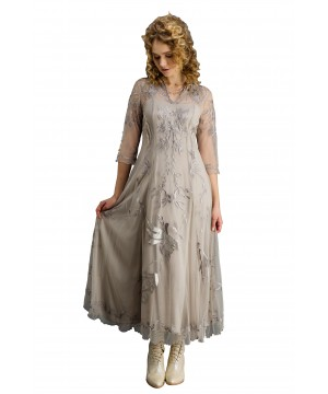 Elizabeth CL-2149 Vintage Style Wedding Gown in Silver/Grey by Nataya
