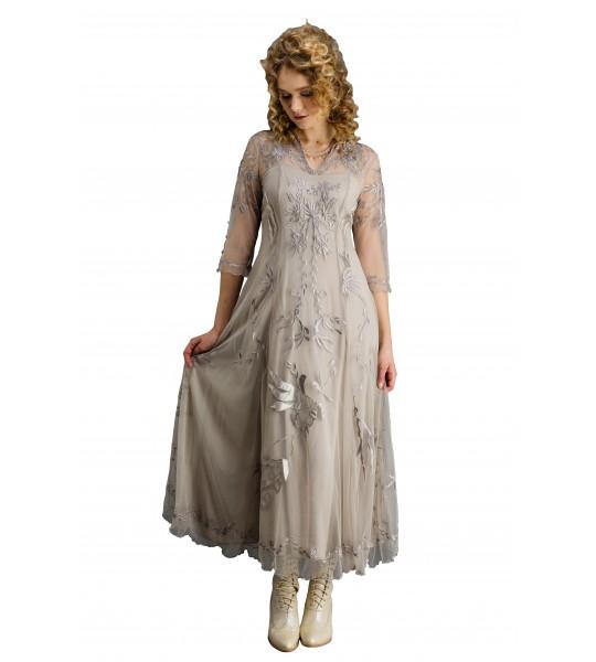 Elizabeth CL-2149 Vintage Style Wedding Gown in Silver/Grey by Nataya