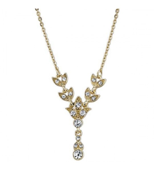 Downton Abbey Czech Crystal Y Necklace by 1928 Jewelry
