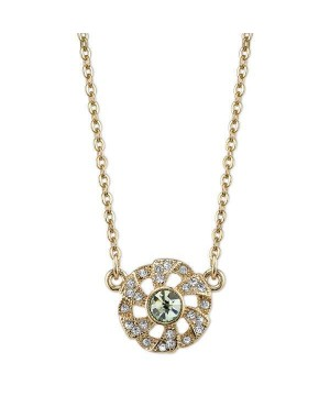 Downton Abbey Green Crystal Flower Necklace by 1928 Jewelry