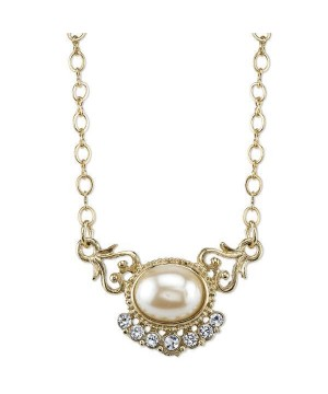 Downton Abbey Simulated Pearl and Crystal Necklace by 1928 Jewelry